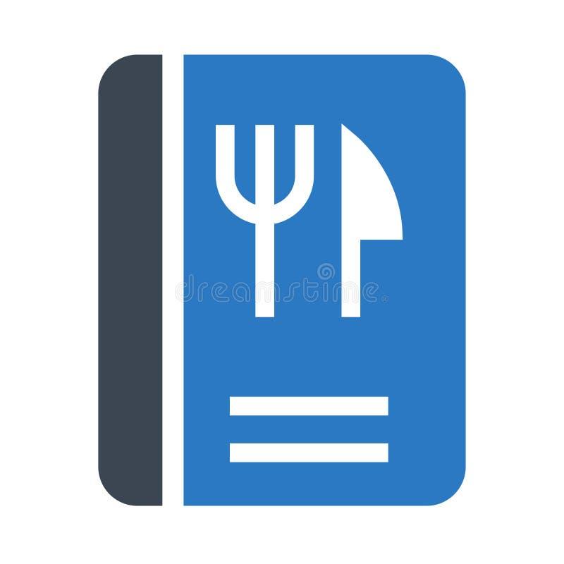 Doppelte Ikone Lebensmittel-Buch Glyphs Farb vektor abbildung