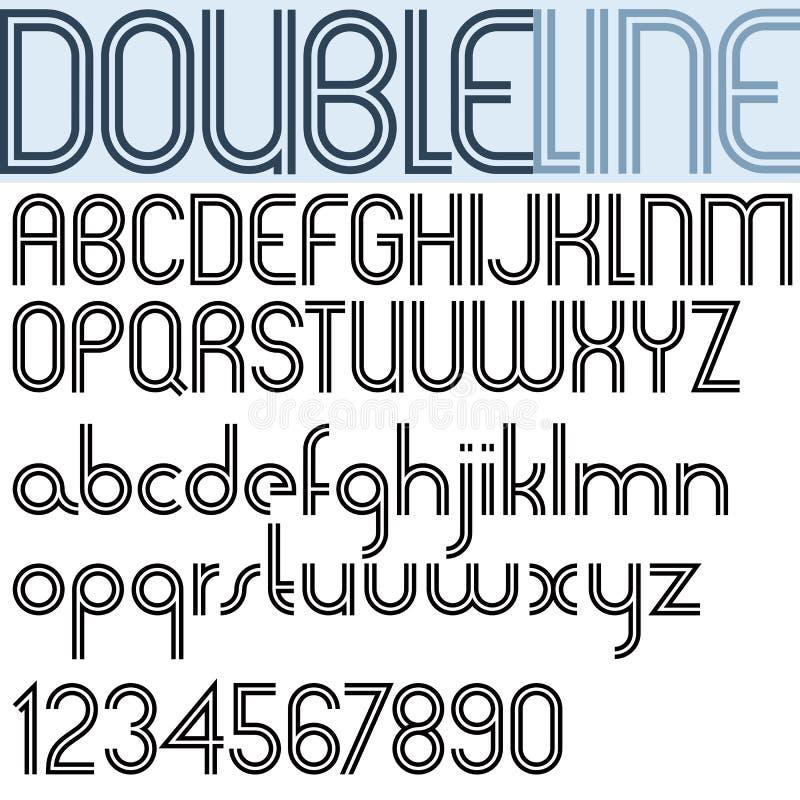 Doppelte Linie geometrischer Guss des Retrostils, helle Version lizenzfreie abbildung