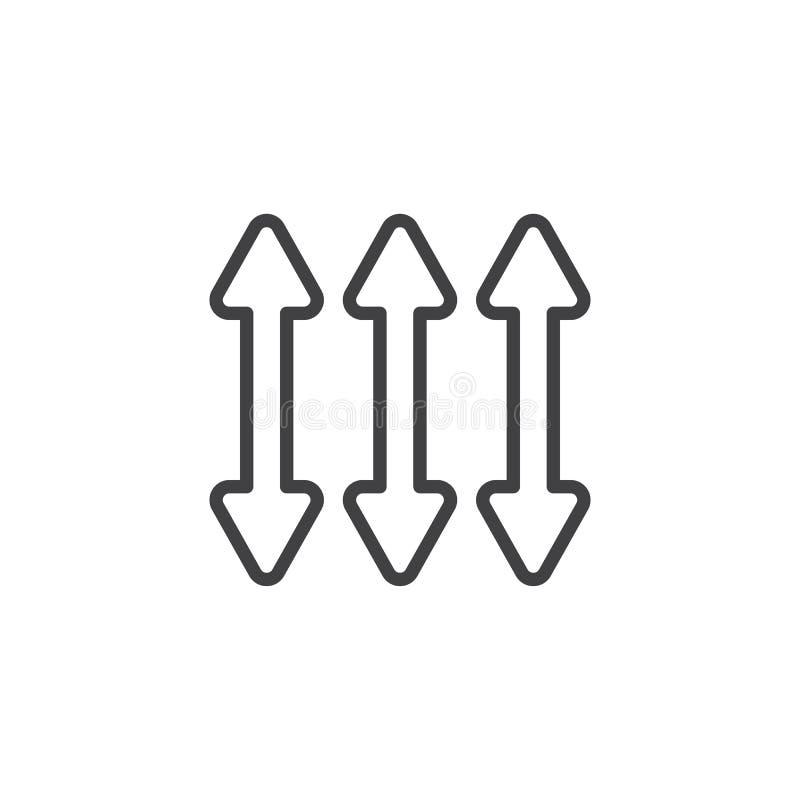 Doppelte Linie Ikone des Pfeiles drei lizenzfreie abbildung