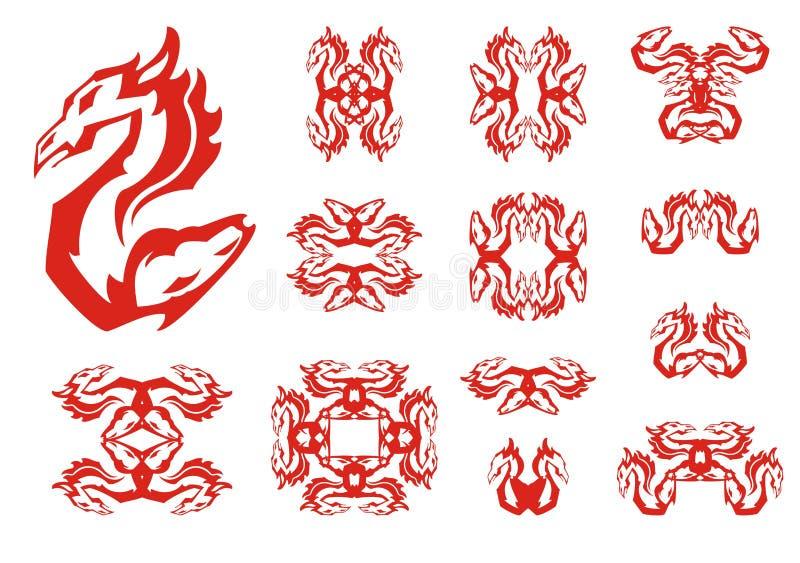 Doppelte lodernde abstrakte Symbole des Drachen und des Pferds lizenzfreie abbildung