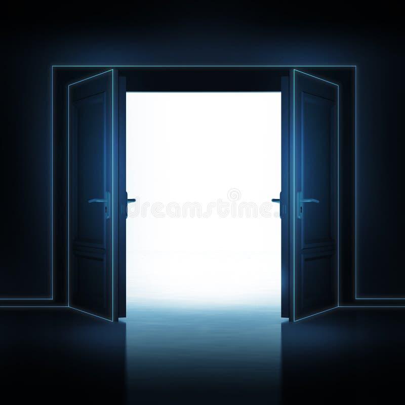 Doppelte Tür öffnete sich von der Dunkelheit, um Raum 3D zu beleuchten vektor abbildung