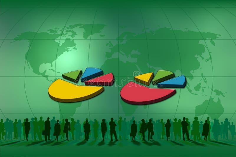 Doppelte Tortegraphik für Statistiken stock abbildung