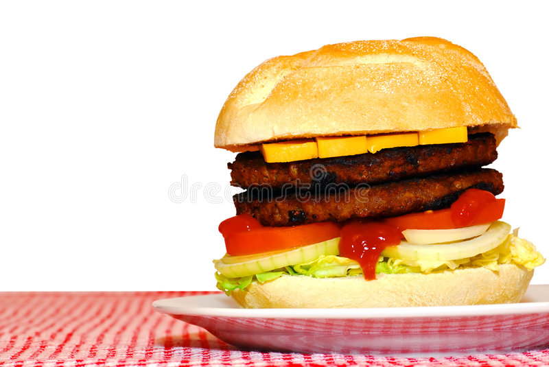 Doppelter Hamburger lizenzfreie stockfotos