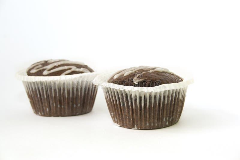 Doppelter Schokoladenkuchen stockfotos