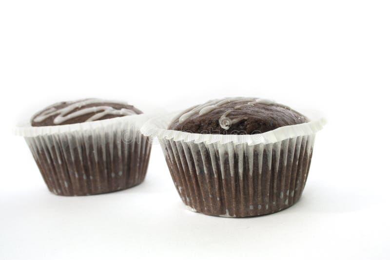 Doppelter Schokoladenkuchen stockbild