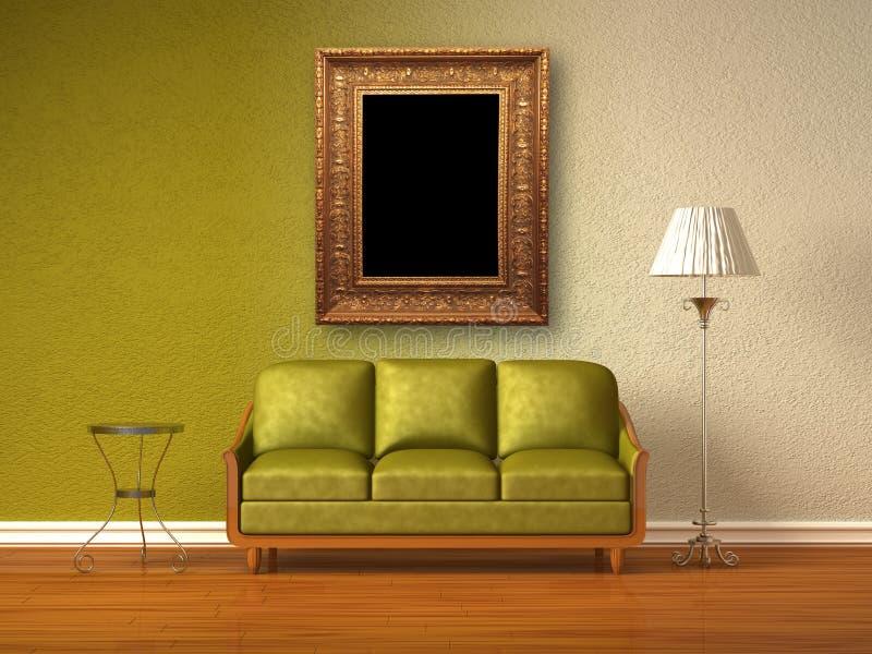 Doppeltes farbiger Innenraum des Wohnzimmers vektor abbildung