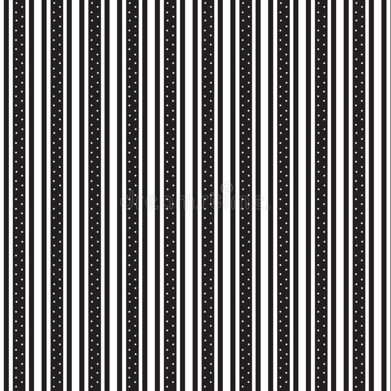 Doppeltes vertikales Schwarzes gestreift und weißes Sterninnere weit gestreift stock abbildung