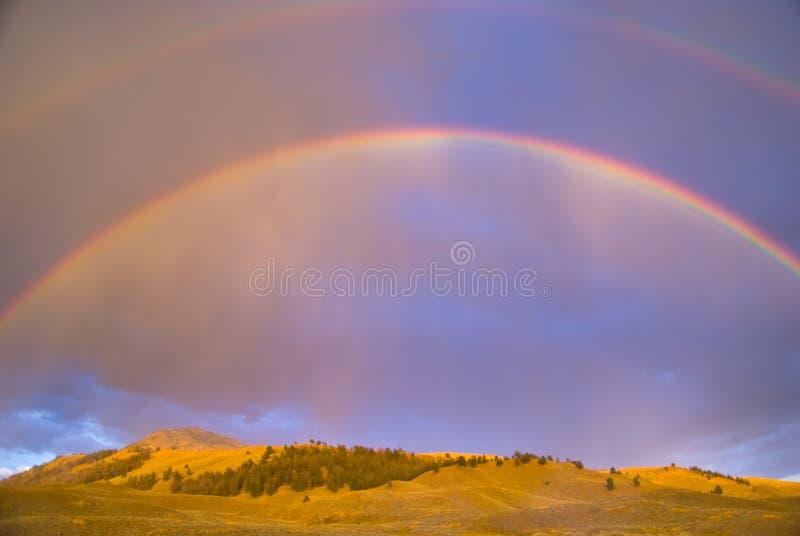 Doppi Rainbow sopra la valle di Lamar fotografia stock libera da diritti