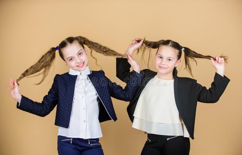 Doppia acconciatura delle code di cavallo Le ragazze godono di di avere capelli lunghi Acconciatura per la femmina Gli amici alle fotografie stock libere da diritti