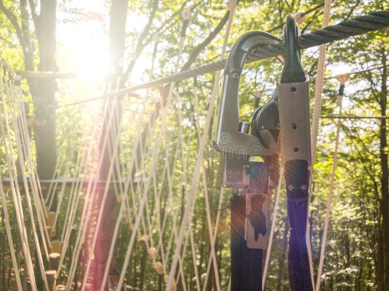 Doppia carabina con la frizione al sole sulla corda della strada Attrezzatura per la scalata e l'alpinismo fotografia stock libera da diritti