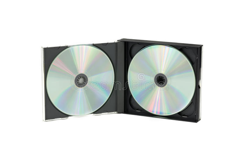 Doppia cassa del CD su fondo isolato fotografia stock libera da diritti