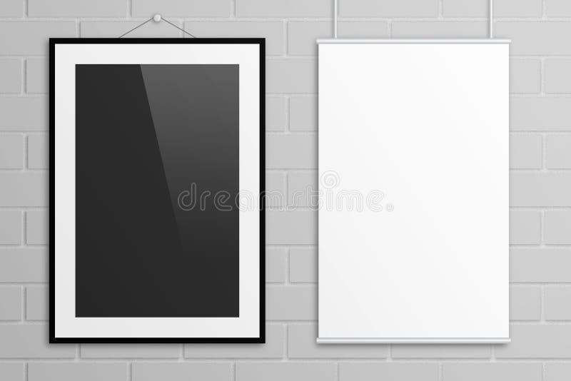 Doppia derisione del manifesto dell'illustrazione 3D su con la struttura sul muro di mattoni grigio illustrazione vettoriale