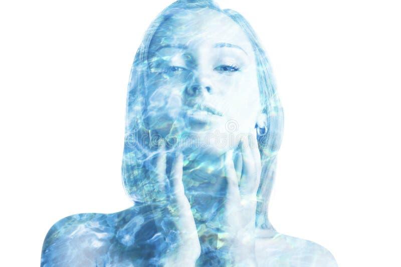 Doppia esposizione con le scintille dell'acqua immagini stock libere da diritti