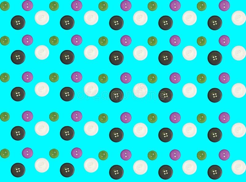 Doppia esposizione dei modelli dei bottoni variopinti sul backgrou blu illustrazione vettoriale