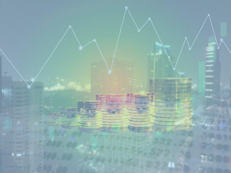 Doppia esposizione del grafico e dei soldi di affari immagine stock