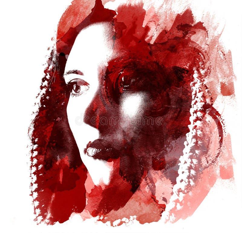 Doppia esposizione di giovane bella ragazza Ritratto dipinto di un fronte femminile Immagine multicolore isolata su fondo bianco  illustrazione vettoriale