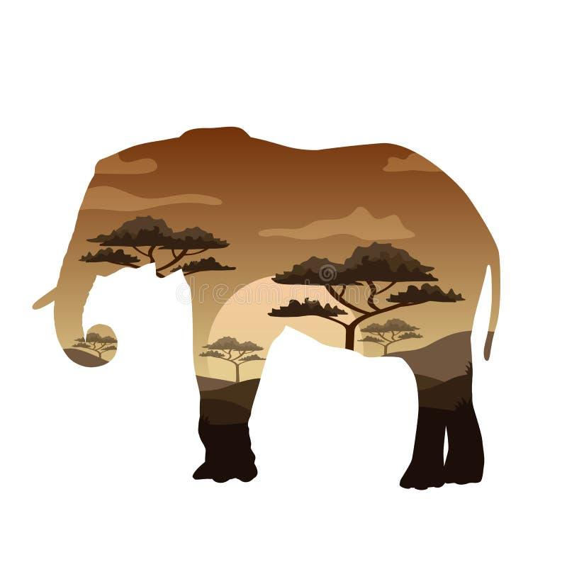 Doppia esposizione di vettore Orso, elefante, cammello e leopardo, concetto della fauna selvatica royalty illustrazione gratis