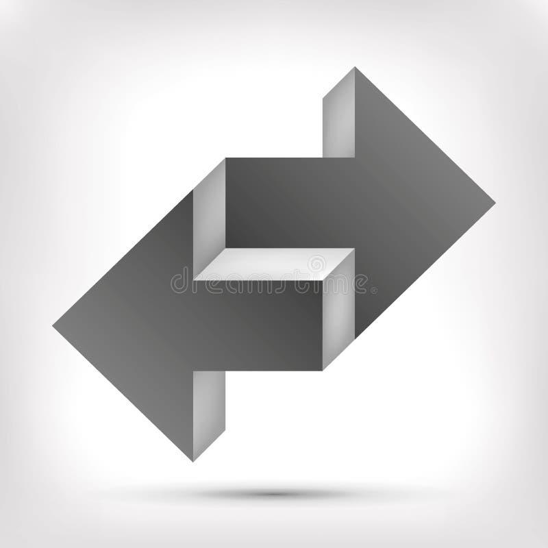 Doppia freccia Oggetto irreale Puntatore in due direzioni Elemento di progettazione di vettore per voi progetto royalty illustrazione gratis