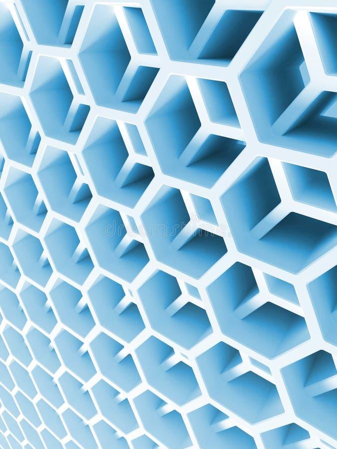 Doppia struttura di favo blu astratta illustrazione di stock