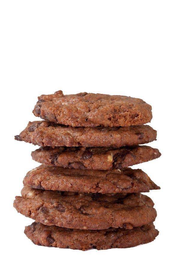 Doppia torretta dei biscotti del cioccolato immagine stock libera da diritti