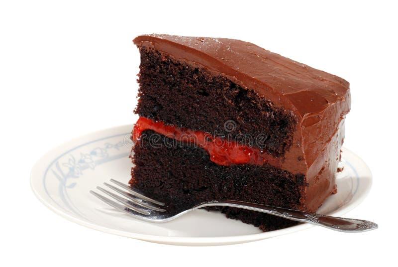 Doppia torta della fragola del cioccolato con una forcella immagini stock libere da diritti