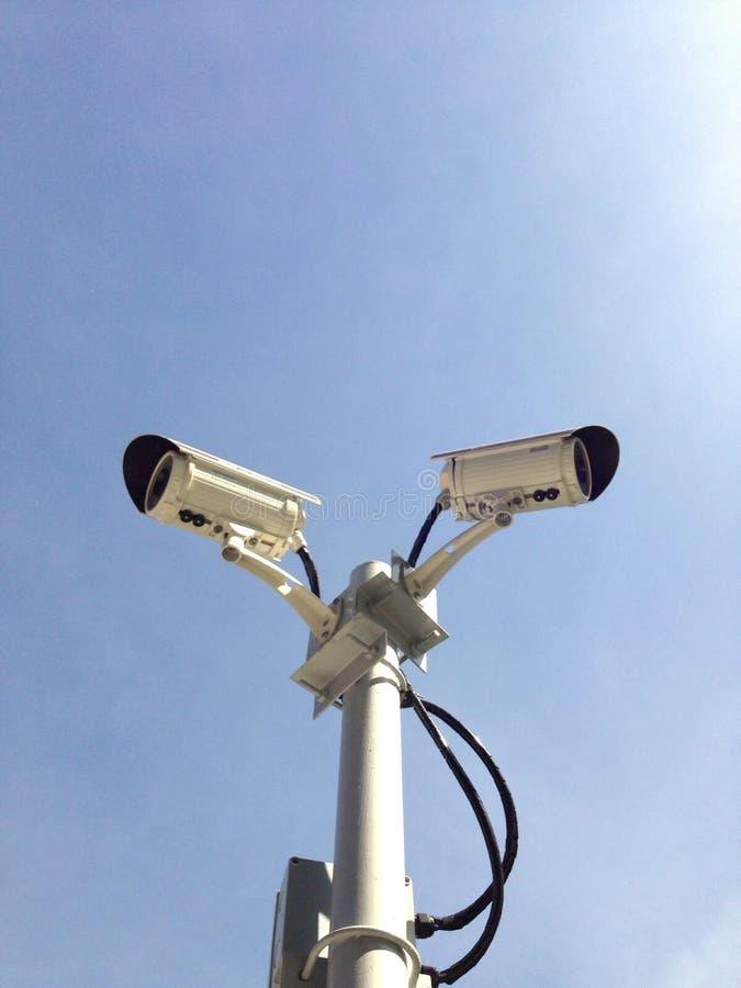 Doppia videocamera di sicurezza fotografie stock