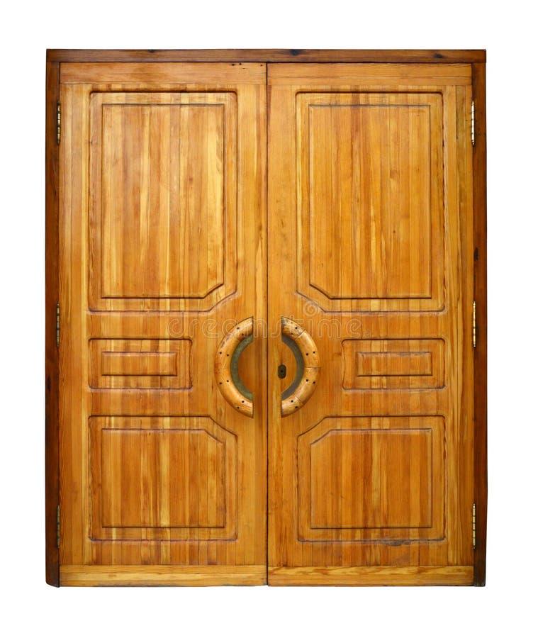 Doppie porte di legno fotografia stock libera da diritti