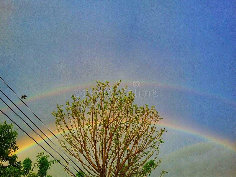 Doppio arcobaleno dopo la pioggia, Chachoengsao, Thailandia immagine stock libera da diritti