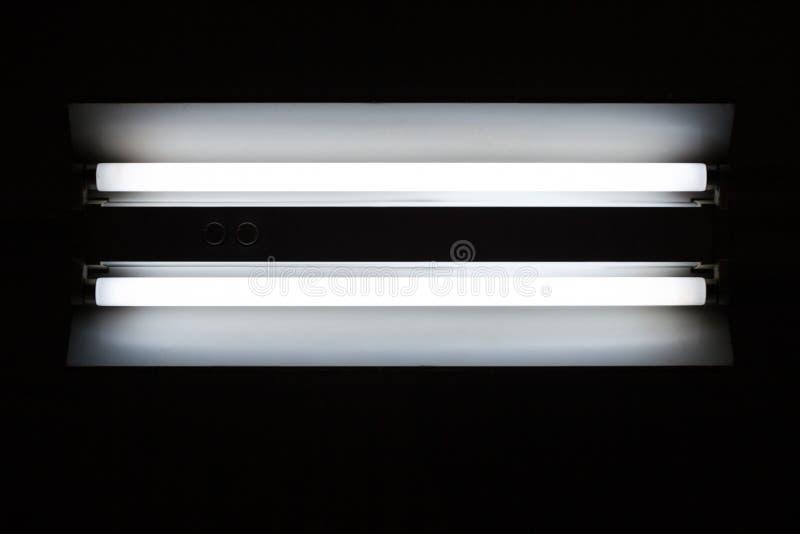 Doppio ardore bianco della lampada della luce al neon immagine stock
