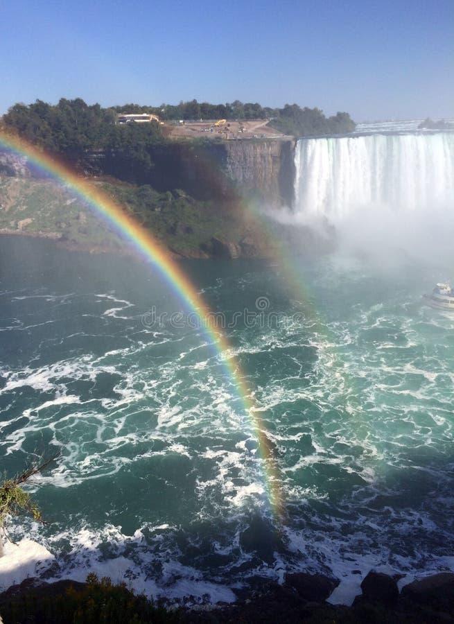 Doppio cascate del Niagara dell'arcobaleno fotografia stock