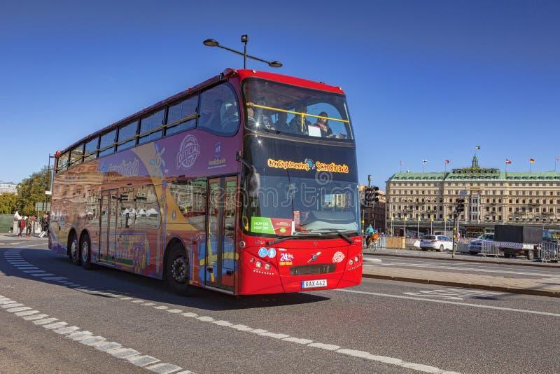 Doppio facente un giro turistico Decker Bus Stockholm Sweden fotografia stock libera da diritti