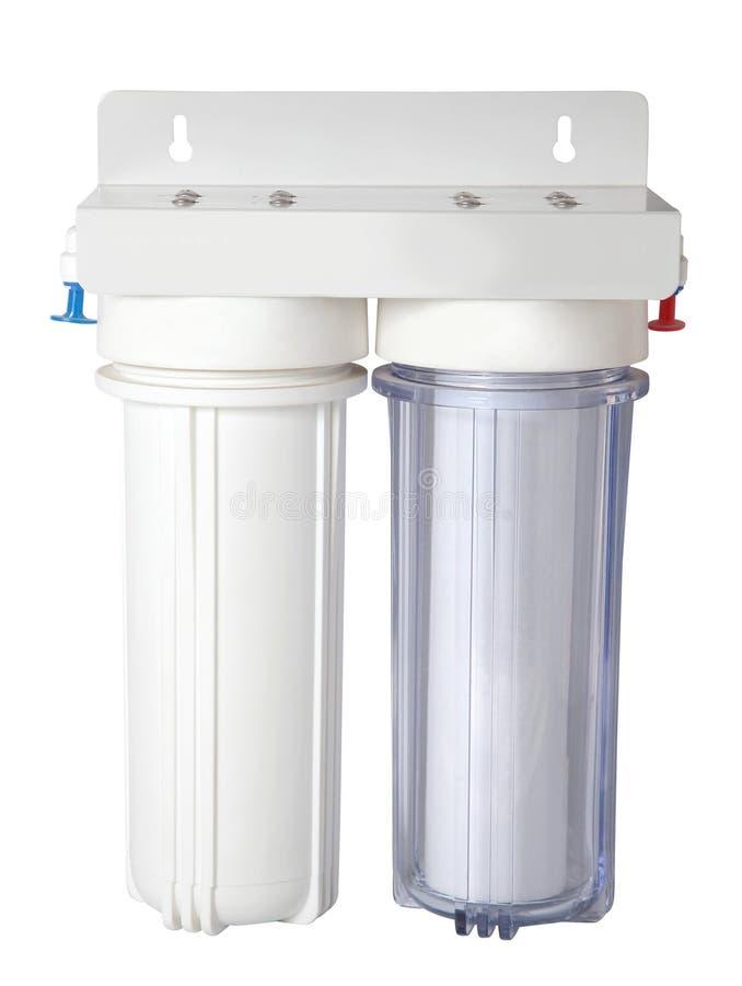 Doppio filtro da acqua per il rifornimento idrico isolato su fondo bianco fotografia stock