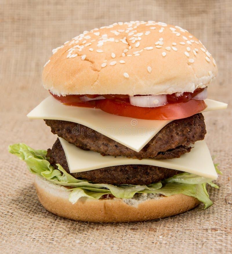 Doppio hamburger fotografie stock libere da diritti