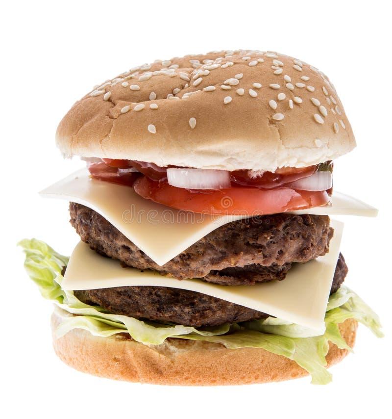Doppio hamburger isolato su bianco immagine stock libera da diritti