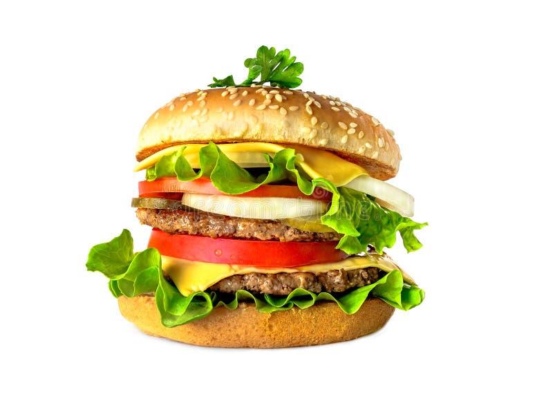 Doppio hamburger saporito delizioso isolato su fondo bianco immagini stock libere da diritti