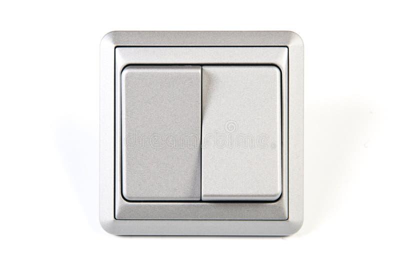 Doppio interruttore chiaro d'argento isolato fotografia stock libera da diritti