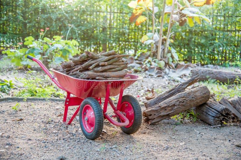 Doppio legno di trasporto della carriola di ruota immagini stock libere da diritti