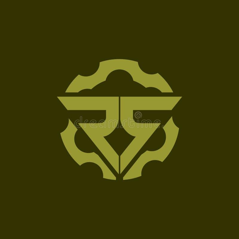 Doppio semplice R della lettera con il modello di logo di vettore della pistola dell'ingranaggio per la società delle armi da fuo royalty illustrazione gratis