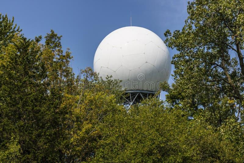 Doppler pogodowy radar wśród drzew Ja obraz royalty free