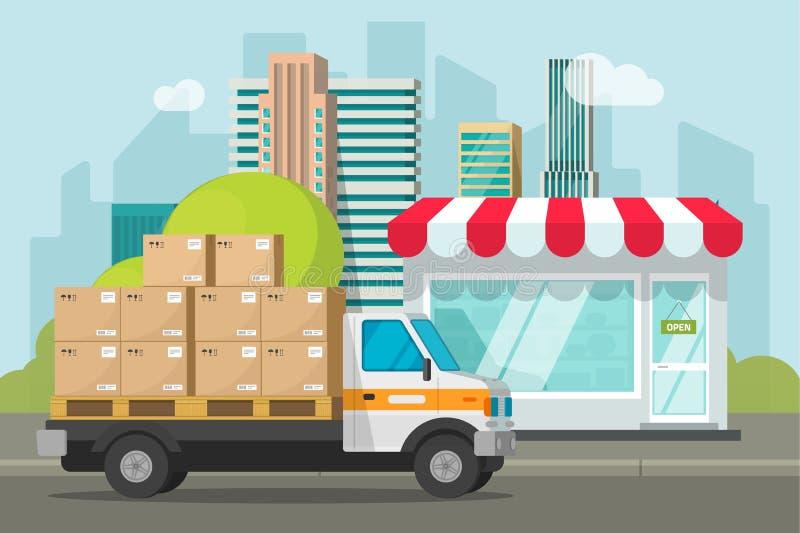 Doręczeniowa ciężarówka ładująca z pakuneczkiem boksuje blisko sklep wektorowej ilustracji, pojęcie wysyłka pakunki od sklepowego royalty ilustracja