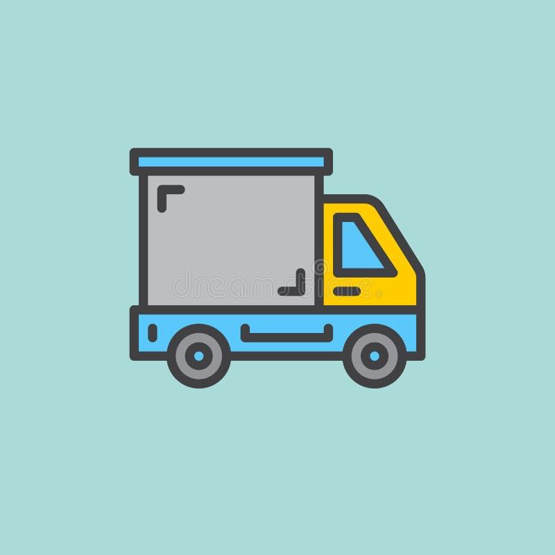 Doręczeniowa ciężarówka, ciężarówka wypełniająca kontur ikona, kreskowy wektoru znak, płaski kolorowy piktogram Symbol, logo ilus ilustracja wektor