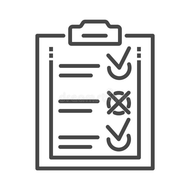 Doręczeniowa czek listy ikona, konturu styl royalty ilustracja