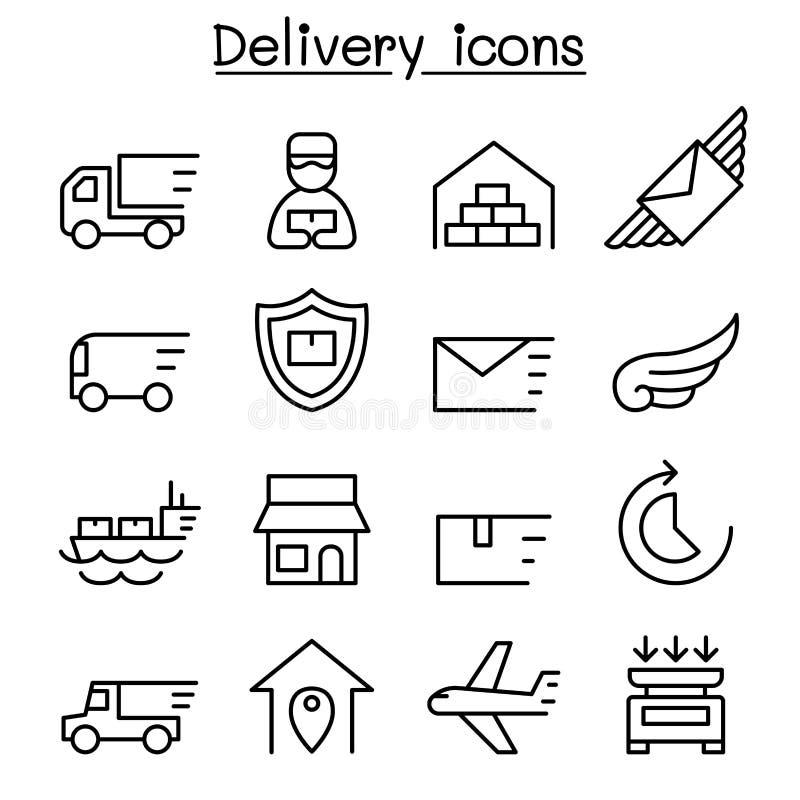 Doręczeniowa & Logistycznie ikona ustawiająca w cienkim kreskowym stylu royalty ilustracja