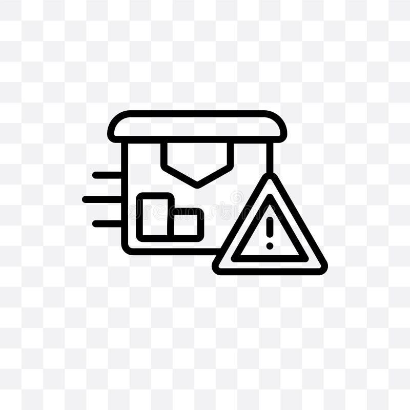 Doręczeniowa ostrzegawcza wektorowa liniowa ikona odizolowywająca na przejrzystym tle, Doręczeniowy ostrzegawczy przezroczystości ilustracji