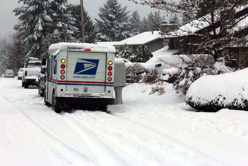doręczeniowa poczta śniegu burza zdjęcia royalty free