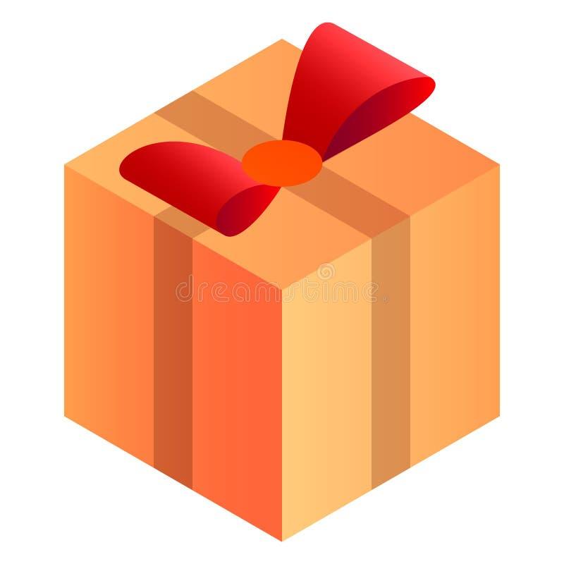 Doręczeniowa prezenta pudełka ikona, isometric styl royalty ilustracja
