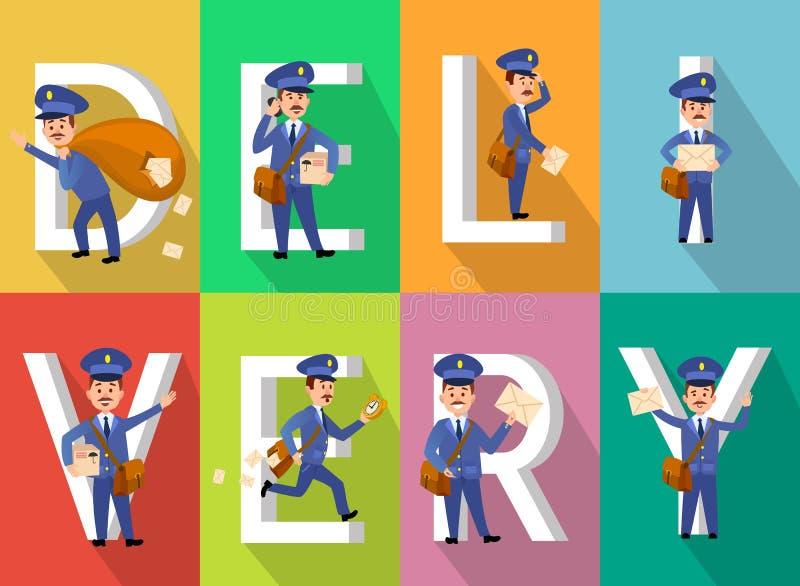 Doręczeniowa usługa, pracownik z torbą i pakuneczki, ilustracja wektor