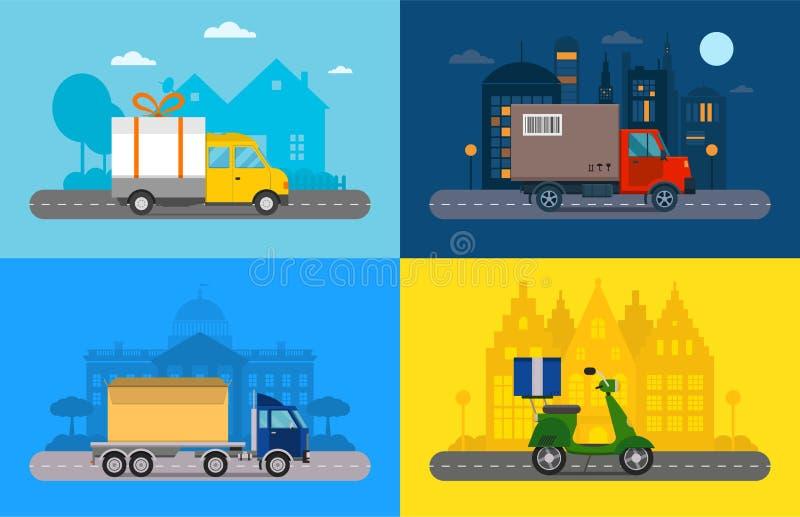 Doręczeniowa wektoru transportu ciężarówka, samochód dostawczy i royalty ilustracja