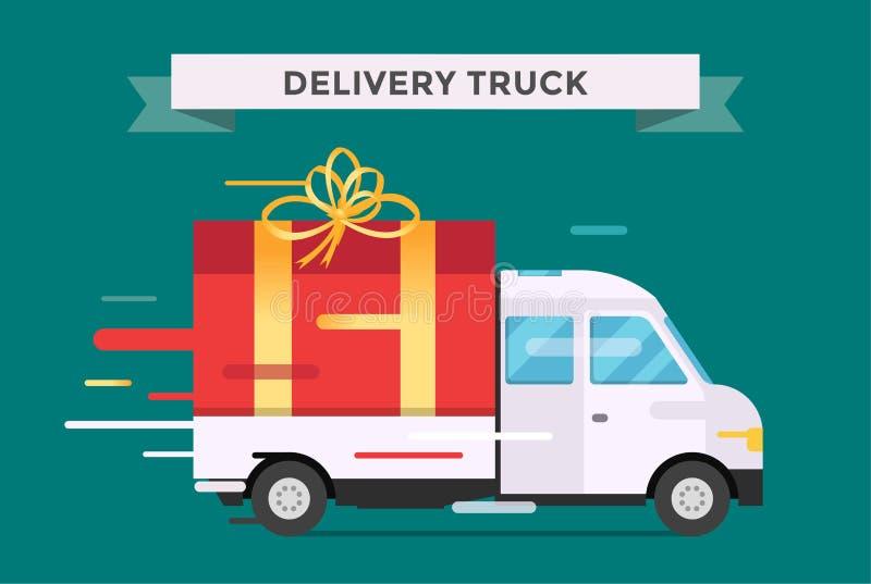 Doręczeniowa wektoru transportu ciężarówka, samochód dostawczy z prezenta pudełkiem ilustracji