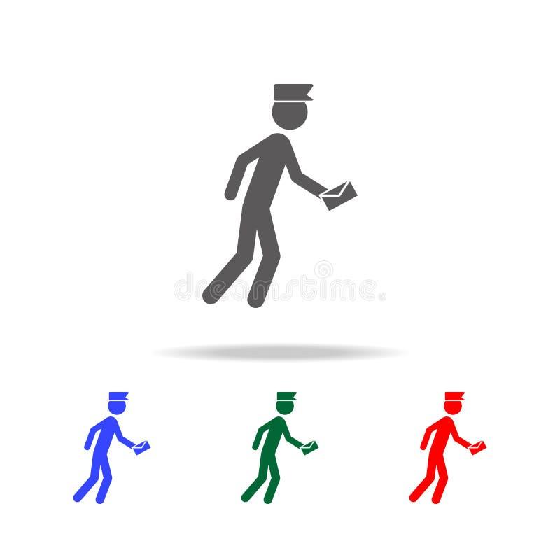 Doręczeniowego mężczyzna ikona Elementy ludzie zawodu w wielo- barwionych ikonach Premii ilości graficznego projekta ikona Prosta ilustracji